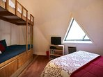 Upstairs Red Room with Queen bed  Single Bunk bed