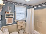 Rise and shine with a refreshing shower in the shower/tub combo.
