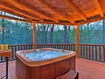 End the day with a relaxing soak in the private hot tub.