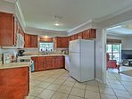 Around the corner is the fully equipped kitchen.