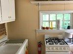Cute retro kitchen with gas stove.