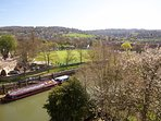 View from the apartment over the river & cricket ground towards Bathwick Hill.