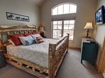 Enjoy the King bed in the master bedroom.  cozy up and watch your favorite shows after a long day of skiing or hiking.