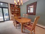 Great dining table to play cards or build a puzzle at after playing in the snow or out hiking all day.