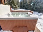 Private hot tub to soak in and enjoy the snow falling.