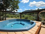 Year round outdoor community hot tub.