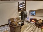 Cozy up next to the fireplace