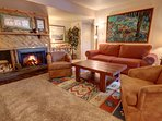Unwind by the wood burning fireplace