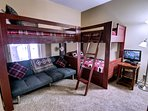Bunk beds for the kiddos and nice area for games and movies.