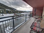 Enjoy watching the skiers and ice skaters from this long patio.