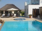 10x5m Pool & Jacuzzi, Thatched BBQ with 8 seat table & wine cooler.