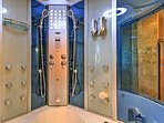 The shower is like something out of a movie!