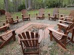 Firepit, complete with firewood and seating for 10, with gorgeous lake view.
