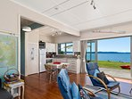 Blue Cottage lakefront retro charm. Perfect for up to 6 guests. Home away from home, All Mod cons.