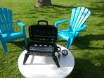 Garden area includes patio chairs, Portable BBQ, Fire pit and games