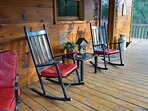 Comfortable rocking chairs to take in the mountain air.
