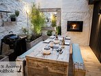 Beautiful courtyard with BBQ and Bio-fuel fire for dining