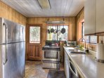 View of the kitchen with updated, stainless steel appliances
