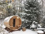 Barrel sauna, open all year 'round