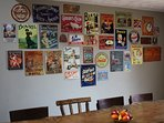 Wall of vintage tin signs