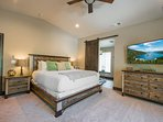 The Master Bedroom has a king-size bed and its own flatscreen TV.