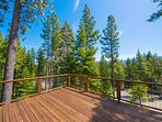 The back deck offers astounding views of the surrounding mountain ranges.