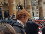 Jamie from Outlander during a film shoot at Church outside apartment