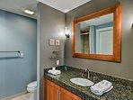 The condo offers 2 pristine bathrooms.