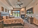 Master Bedroom with King Bed, 65' Smart TV, Warm Gas Fireplace, Private Bath and Beautiful Views