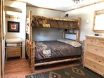 Twin upper and full size lower bunk in Bunk Cabin.