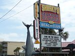 Sharky's Beach Front Dining is just across the street