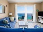 Enjoy Floor to ceiling patio doors from the living room