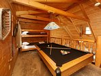 Pool Table and Bunk Beds in Upstairs Loft