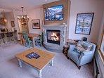 Enjoy the gas fireplace & flat screen TV