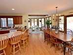 Spacious kitchen and dining area with sliders to deck and backyard