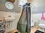 Go for a soak in the original clawfoot tub.