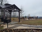 New 12 x 12 gazebo and charcoal grill just steps away from the cabin!