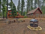 This cabin in the woods offers accommodations for 8 travelers.