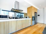 Full stainless steel kitchen appliances.