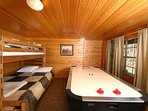 Air Hockey Table and Bunk Beds in Basement Level