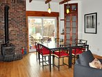 Dining area. Table with 8 chairs but if you split the tables and use the 4...