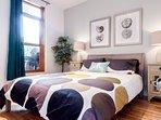 Bedroom 1. Queen size bed.