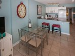Dining table for 4 and breakfast bar for 2
