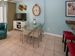 Glass top dining table for 4