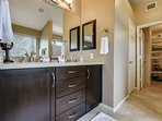 Fabulous Master bathroom with double sinks, shower, tub and large closet