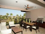 Large covered lanai - private grill and outdoor dining