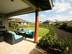 Private covered lanai with grill