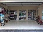 Large Double garage full of bikes and beach gear (adults & kids)