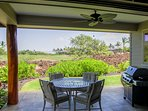 Covered lanai overlooks golf green - one of best of this model home in KaMilo