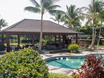 Covered Lanai by Pools . Escape with friends in the Hale Gathering Spot